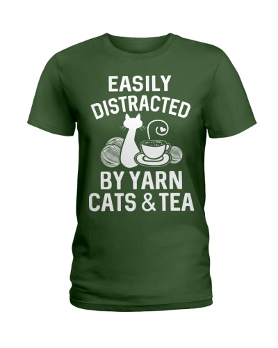 EASILY DISTRACTED BY YARN CATS AND TEA