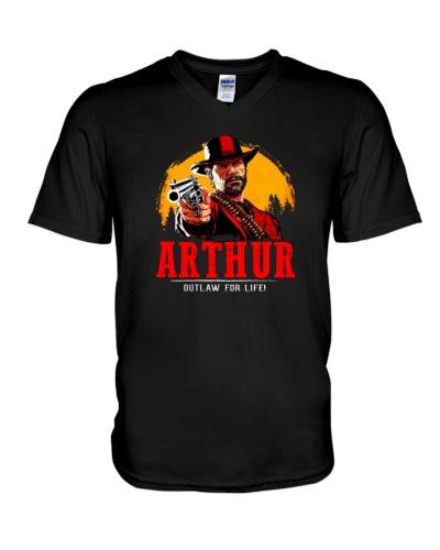Arthur outlaw for life T-shirt V-Neck T-Shirt