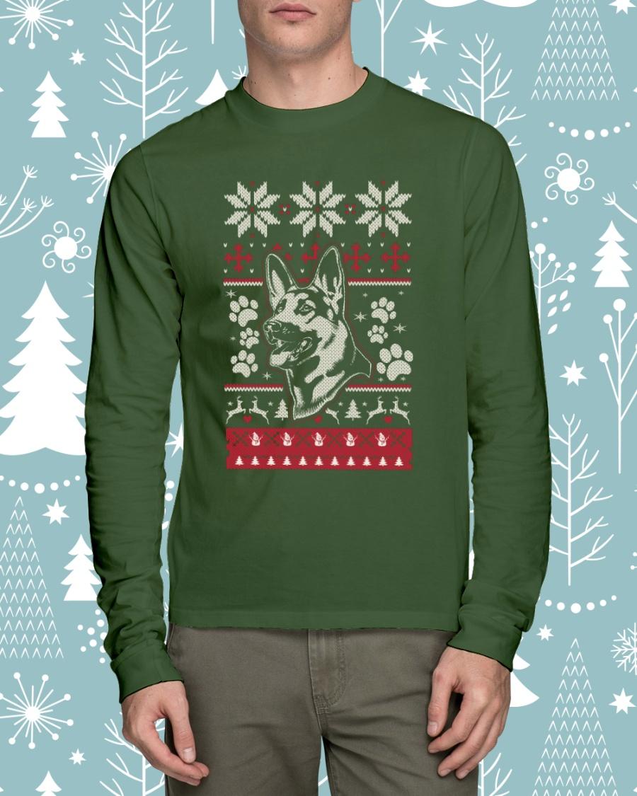 german shepherd ugly christmas sweaters long sleeve tee